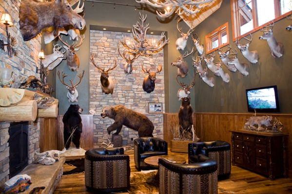 Photo Of Trophy Room High Walls Displaying Mounted Hunting Trophies Surrounding Seated Area In